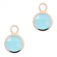 Crystal glass charms round 8mm Turquoise Blue Opal-Rosegold