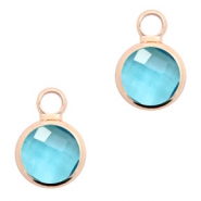 Crystal glass charms round 8mm Turquoise Blue Crystal-Rosegold