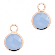 Crystal glass charms round 8mm Air Blue Opal-Rosegold