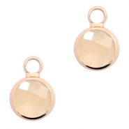 Crystal glass charms round 8mm Light Peach Opal-Rosegold