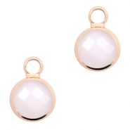 Crystal glass charms round 8mm Pink Opal-Rosegold