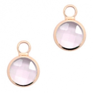 Crystal glass charms round 8mm Pink Crystal-Rosegold