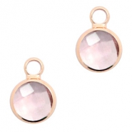 Crystal glass charms round 8mm Vintage Rose Crystal-Rosegold