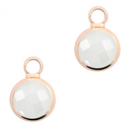 Crystal glass charms round 8mm Off White Opal-Rosegold