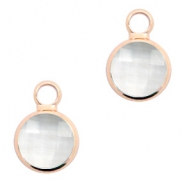 Crystal glass charms round 8mm Crystal-Rosegold