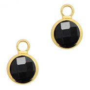 Crystal glass charms round 8mm Black Opaque-Gold