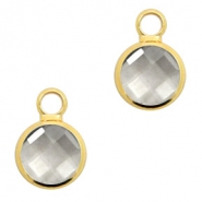 Crystal glass charms round 8mm Black Diamond Crystal-Gold