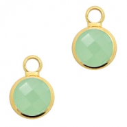 Crystal glass charms round 8mm Crysolite Green Opal-Gold