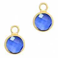 Crystal glass charms round 8mm Denim Blue Crystal-Gold