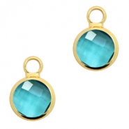 Crystal glass charms round 8mm Blue Zircon Crystal-Gold