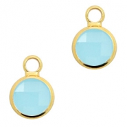 Crystal glass charms round 8mm Turquoise Blue Opal-Gold