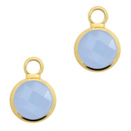 Crystal glass charms round 8mm Air Blue Opal-Gold