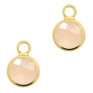 Crystal glass charms round 8mm Light Peach Opal-Gold
