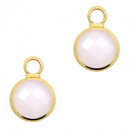 Crystal glass charms round 8mm Pink Opal-Gold