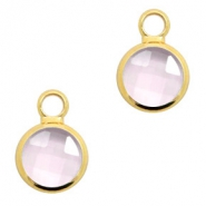 Crystal glass charms round 8mm Pink Crystal-Gold