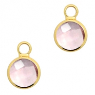 Crystal glass charms round 8mm Vintage Rose Crystal-Gold