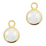 Crystal glass charms round 8mm White Opal-Gold