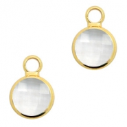 Crystal glass charms round 8mm Crystal-Gold