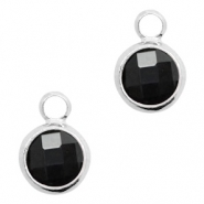 Crystal glass charms round 8mm Black Opaque-Silver