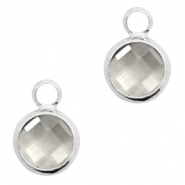 Crystal glass charms round 8mm Black Diamond Crystal-Silver
