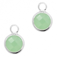 Crystal glass charms round 8mm Crysolite Green Opal-Silver