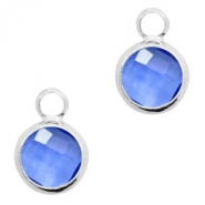 Crystal glass charms round 8mm Denim Blue Crystal-Silver