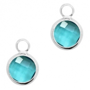 Crystal glass charms round 8mm Blue Zircon Crystal-Silver
