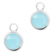 Crystal glass charms round 8mm Turquoise Blue Opal-Silver