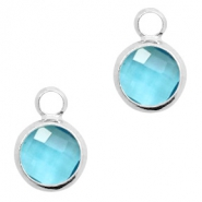 Crystal glass charms round 8mm Turquoise Blue Crystal-Silver