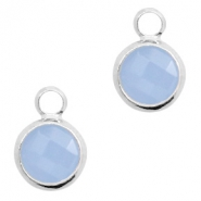 Crystal glass charms round 8mm Air Blue Opal-Silver