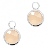 Crystal glass charms round 8mm Light Peach Opal-Silver