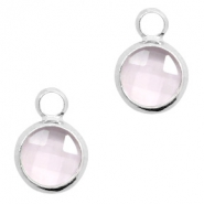 Crystal glass charms round 8mm Pink Crystal-Silver