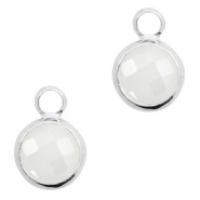 Crystal glass charms round 8mm White Opal-Silver