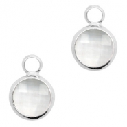 Crystal glass charms round 8mm Crystal-Silver
