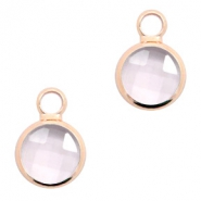 Crystal glass charms round 6mm Pink Crystal-Rosegold