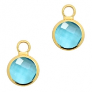 Crystal glass charms round 6mm Turquoise Blue Crystal-Gold