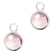 Crystal glass charms round 6mm Vintage Rose crystal-Silver