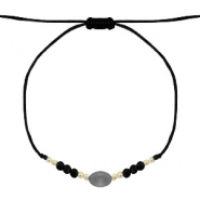 Ready-made Bracelets Stone&Faceted Black-Gold