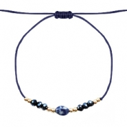 Ready-made Bracelets Stone&Faceted Dark Blue-Gold
