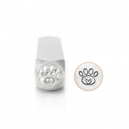 ImpressArt design stamps paw print with heart 6mm Silver