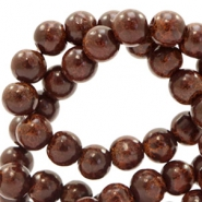 6 mm glass beads stone look Dark Brown