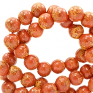 6 mm glass beads stone look Red Brown
