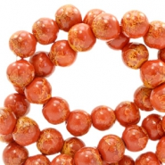 4 mm glass beads stone look Red Brown
