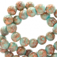 6 mm glass beads stone look Turquoise-Brown