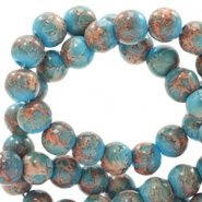 4 mm glass beads stone look Blue-Rose Brown