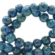 6 mm glass beads stone look Admiral Blue-Green