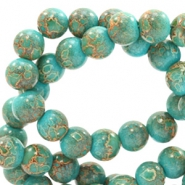 6 mm glass beads stone look Dark Turquoise-Rose Brown