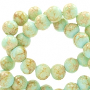 8 mm glass beads stone look Light Turquoise Blue-Light Brown