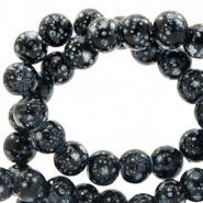 4 mm glass beads stone look Black-White