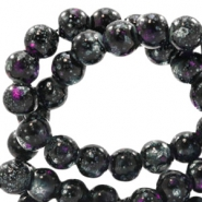 8 mm glass beads stone look Black-Purple White